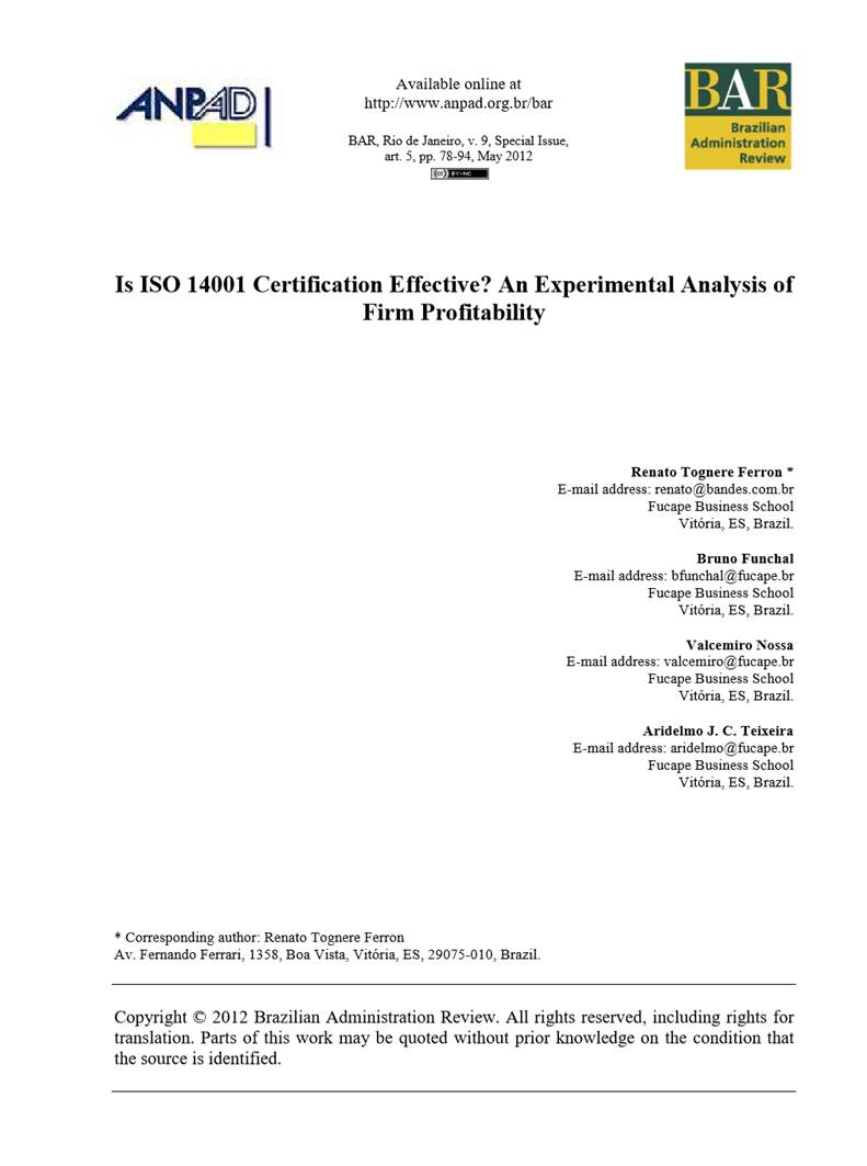 Brazilian publicly traded ISO 14001 certified companies demonstrate higher profitability