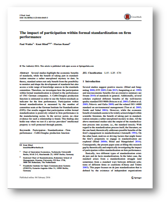 Formal standardisation positively related to firm performance in German manufacturing sector