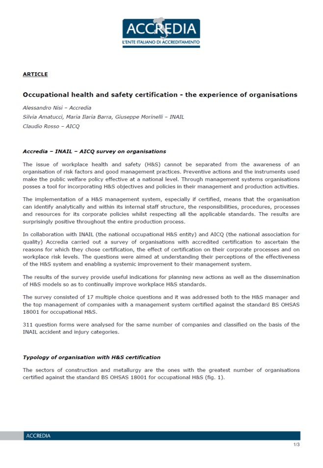 Italian Study identifies the benefits of accredited H&S management systems