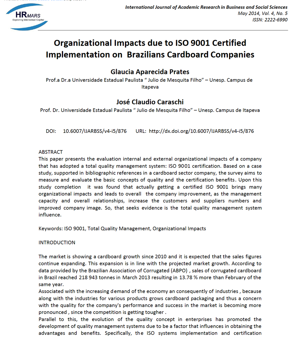 ISO 9001 certification has significant effect on Brazilian cardboard companies