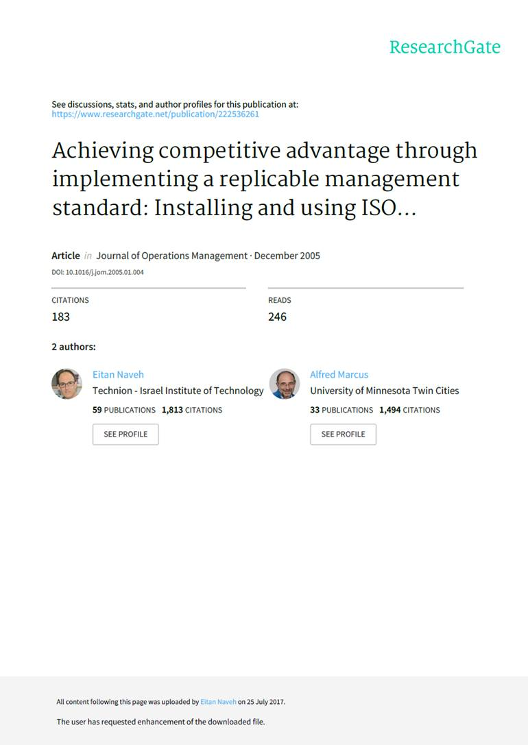 Gaining a competitive advantage by implementing and using ISO 9001