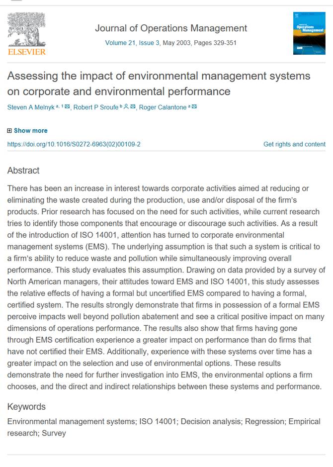 Environmental Management Systems Certification improves performance according to US Managers
