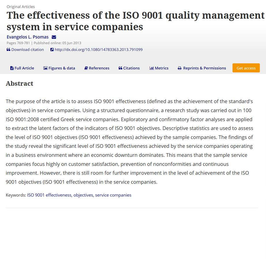 ISO 9001 improves Greek service companies' performance during economic downturn